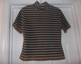 Retro Tight Fitting Velour Olive Striped Top