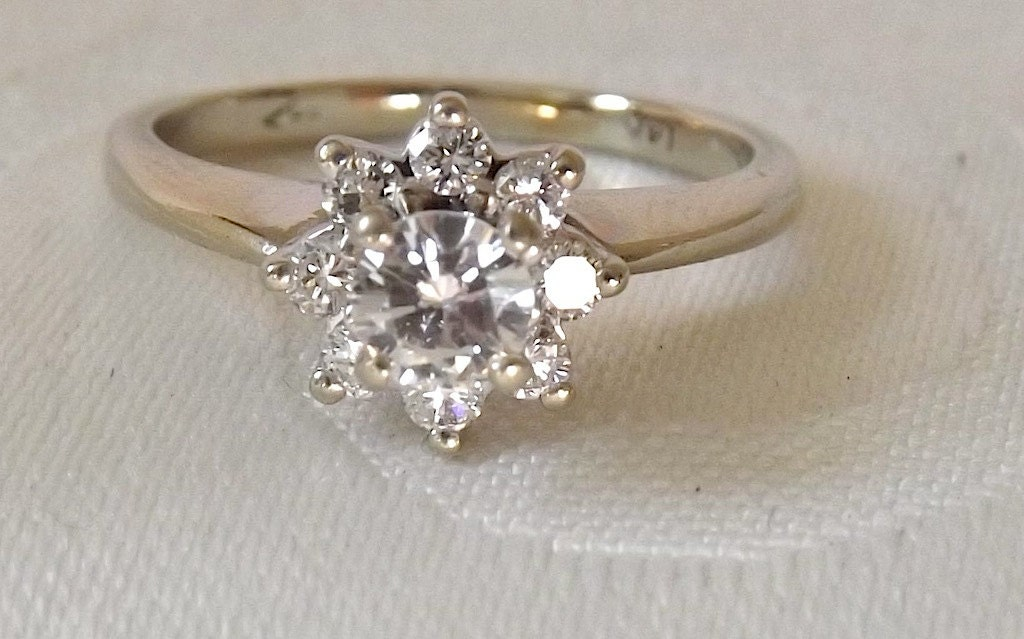 vintage 14k engagement cluster ring appraisal