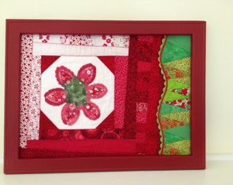 Strawberry Doily Quilted Wall Hanging