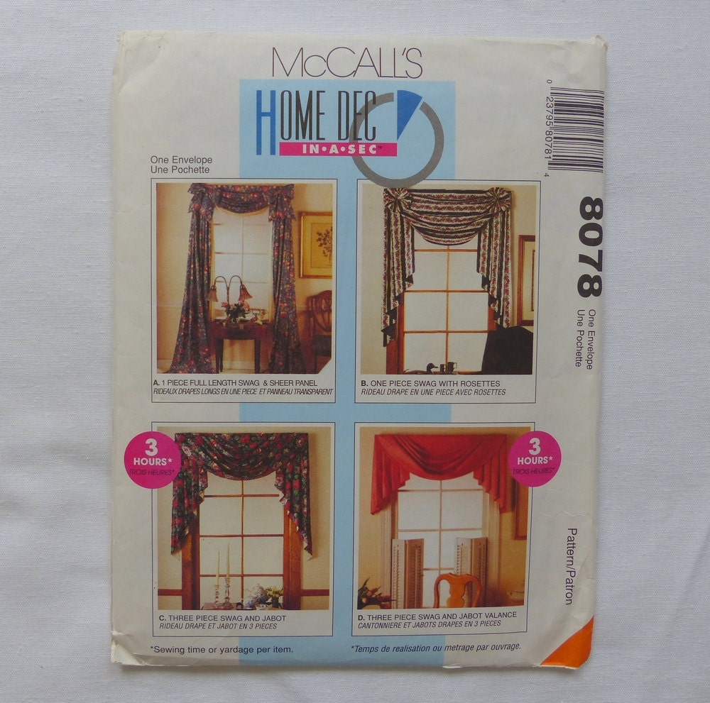 McCalls 8078 Home Dec Curtain Valance Pattern
