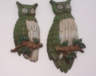 Vintage Sexton Owl Wallhanging Plaques Set of 2 1969 Cast Metal Owls Avocado Green, Ivory and Brown
