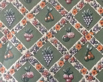 Collectable Home Decor Vintage Wallpaper Vinyl Pre pasted paper-backed Green with fruit