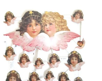 Antique German Die Cut Angels Full Sheet Cupids