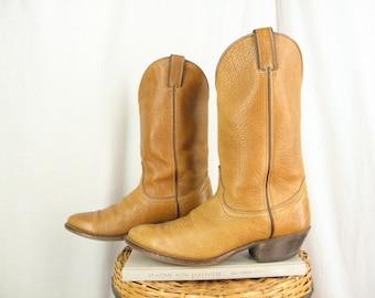 Sz 8.5 Vintage 1980s Honey Brown Leather Cowboy Western Boots MEN