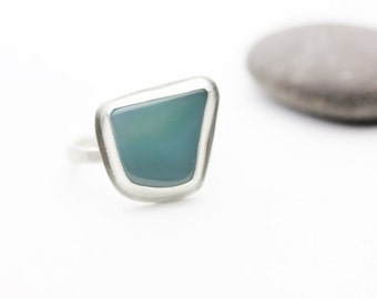 Blue Green Sterling Ring, Sea Blue, Turquoise, Unique Stacking Ring, Size 6.5