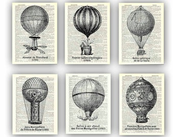Balloon print, Hot air balloon communication Prints, Montgolfiere collection,  6 aerostatique globes, dictionary print, french illustration