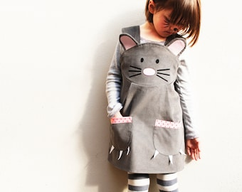 Girls mouse animal dungaree dress , mouse costume, handmade in the UK