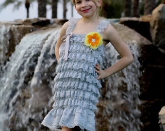 1 week SALE SALE Grey and yellow lace and satin dress for flower girl,  weddings ,junior bridesmaid,photoprop,photography,birthday
