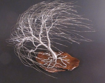 Silver Wire Tree Sculpture of Windswept Willow