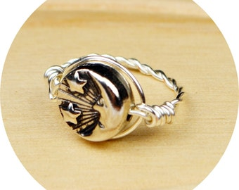 Reversible Sun and Moon Ring- Sterling Silver Filled Wire Wrap with Silver Tone Metal Bead - Any Size 4, 5, 6, 7, 8, 9, 10, 11, 12, 13, 14