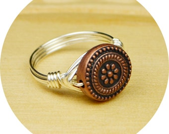 Wire Wrapped Ring- Sterling Silver Filled Wire with Copper Tone Metal Flower Bead - Any Size - Size 4, 5, 6, 7, 8, 9, 10, 11, 12, 13, 14