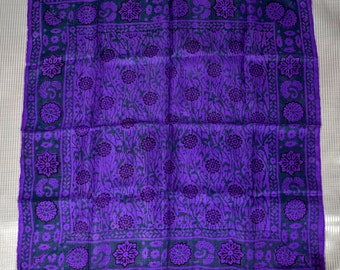 Vintage Purple scarf with green and burgundy stylized floral designs
