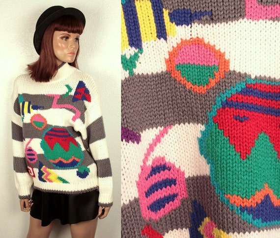 25% OFF SALE // vintage intarsia sweater // geometric shapes // oversize slouchy