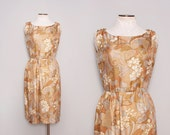 1950s Party Dress / Vintage 50s Silk Dress / Size Small