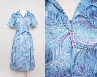 1970s Feather Print Dress / Vintage 70s Blue Dress / Large