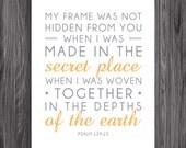 Nursery Decor. Psalm 139:15. 8x10in  DIY Printable Christian Poster. PDF. Bible Verse.