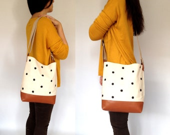 Dotted Leather & Canvas Tote Bag Eco Natural Handpainted Dotted Canvas Brown Leather Cotton Straps