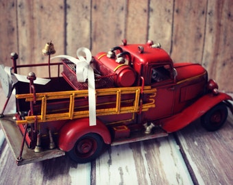 Ring bearer-fire fighter-fireman-ring holder-fire truck-wedding-bride-groom-just married-cake topper-fire fighter wedding-fireman groom
