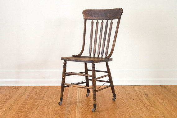 Vintage Oak Farmhouse Chair With Metal Casters