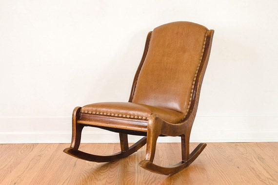 Vintage leather and oak rocking chair by homesteadseattle on etsy