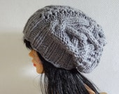 Handmade Knit Cable Hat Beanie Slouchy Hat Beanie Large for Men / Women SILVER GRAY Baggy cabled Slouchy hat Warm hat