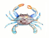 Blue Crab Watercolor Print- 5 x 7 inch