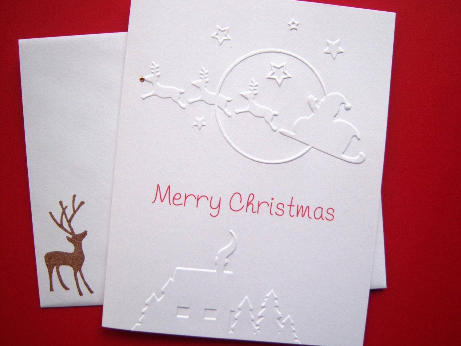 Set of 10 Santa with Reindeer Embossed Christmas Cards