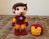 Iron Man Tony Stark crochet amigurumi chibi plush doll Marvel Avengers movie video game comic character plushie IronMan 3
