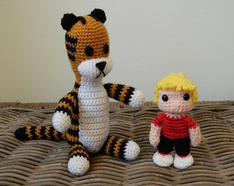 Harold the tiger with Calvin plush doll crochet amigurumi toy (inspired by Calvin and Hobbes) plushie softie