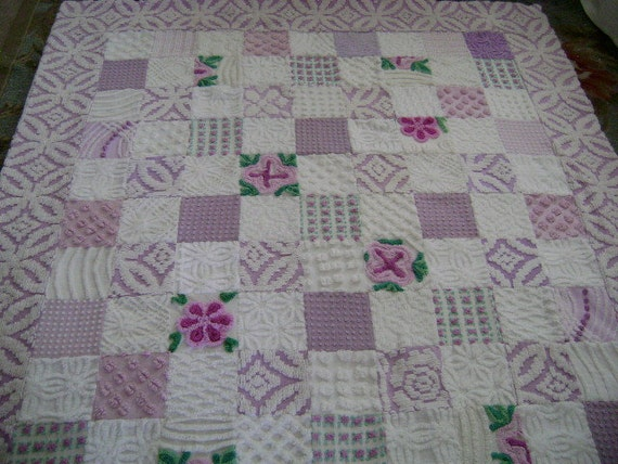 RESERVED for Julie --- LILAC Hill - Vintage Chenille Lap Quilt, Throw, Sofa - Custom Order ONLY
