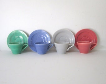 Vintage Harlequin Tea Cups  Blue Green Rose Grey Vintage Tea Cups Saucers Fiestatware Riveriaware Drinkware 1940 Colorful Kitchenware
