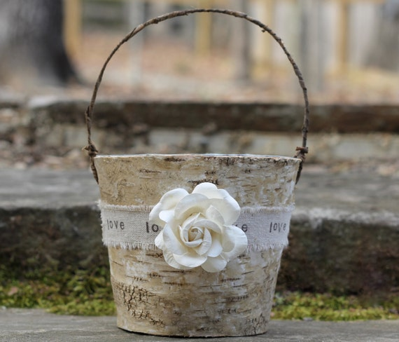 Rustic Burlap Flower Girl Baskets : Rustic flower girl basket birch burlap linen by