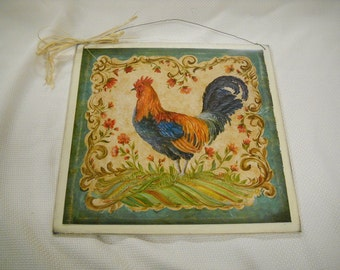 rooster kitchen wooden wall art sign country decor CHOOSE BACKGROUND
