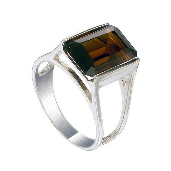 smoky quartz gemstone ring 925 sterling silver by