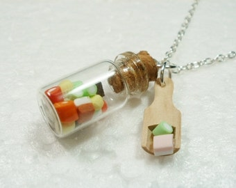 Jar Of Dolly Mixtures Pendant.  Polymer clay