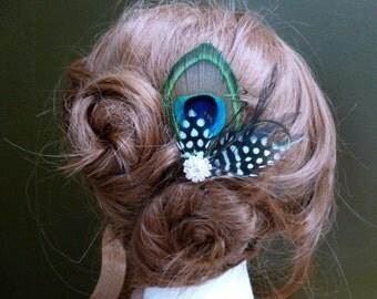 Bridesmaids peacock polka dot feather hair clip, customizable