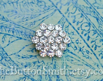 5 to 20 Pieces of Beautiful crystal Rhinestone Buttons (19mm) RS-004 Silver finish - Perfect for Wedding invitations shoe clips hair pins