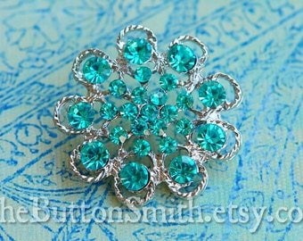Rhinestone Buttons -Abigail- (36mm) RS-035 in Blue- 5 piece set