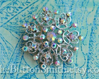 Rhinestone Buttons -Christine- (40mm) RS-054 in Opal AB - 5 piece set