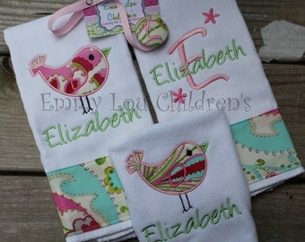 Monogrammed Baby Gift Set - Set of Two Monogrammed Burp Cloths, Coordinating Pacifier Clip and Monogrammed Bib - Custom Gift Set.