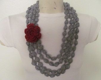 Gray Bubble SCarf Necklace With Red Flower
