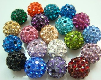 50 pcs 10mm  Mixed Color Swarovski Crystal Pave Disco Ball Spacer Charm Beads