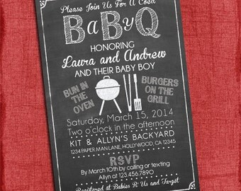 Baby Q Shower Invitation - BBQ Baby Shower- BABYQ- Barbecue baby shower - Coed Baby Shower Invite