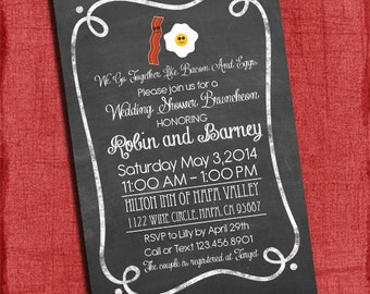 Bacon and Eggs Couples/Coed Wedding Shower or Wedding Shower Bruncheon Invitation-Printable Invite