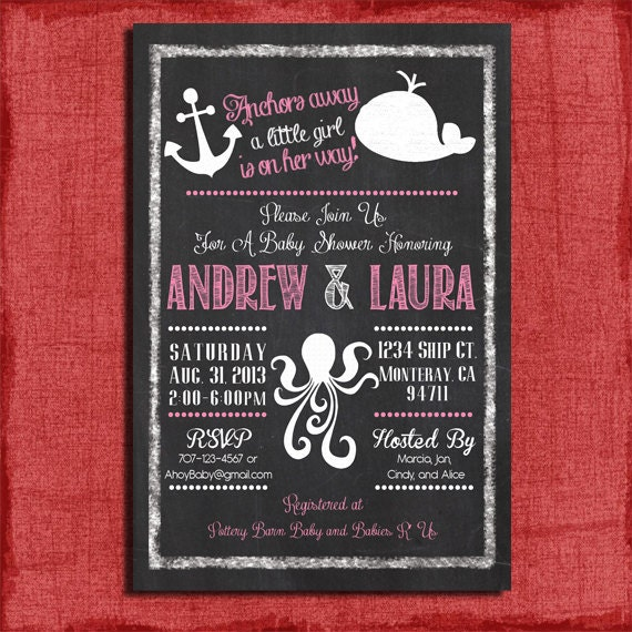 or girl nautical themed couples baby shower 4x6 or 5x7 invitation diy