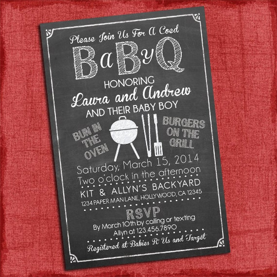 baby q shower invitation bbq baby shower babyq barbecue,