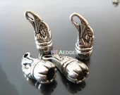 Finding - 2 pcs Silver Eagle Mark Head Leather Cord Ends Cap For Round Leathers 25mm x 9mm ( inside 6mm )