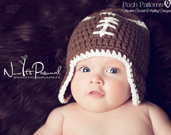 Crochet PATTERN - Football Hat Pattern - Crochet Pattern Hat -Crochet Patterns Boys - Crochet Patterns Baby - Includes 6 Sizes - PDF 114