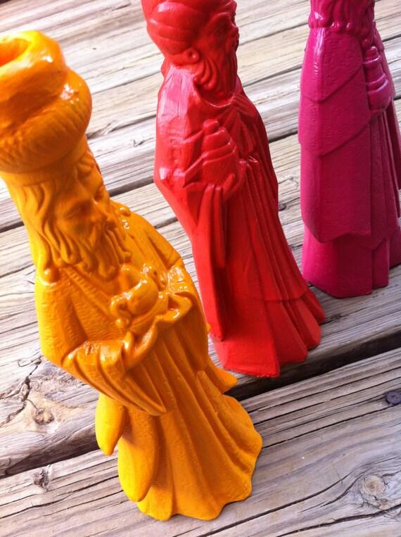 Colorful Christmas Decor Three Wise Men Funky Orange