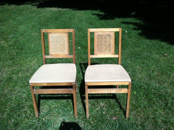 Wooden Card Table Sets ~ Vintage wood folding chairs card table